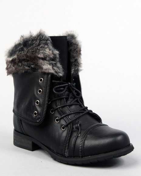 Apple Bottoms Women Black Trinika Boot W/Faux Fur