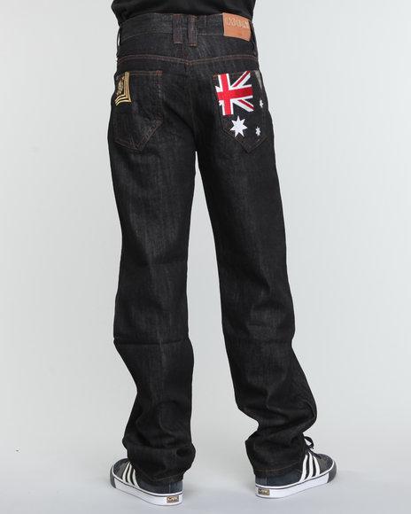 COOGI Men Black Military Flag Denim Jeans