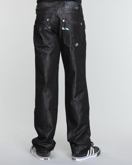 Pelle Pelle Men Black Black Streaky Crest Denim Jeans