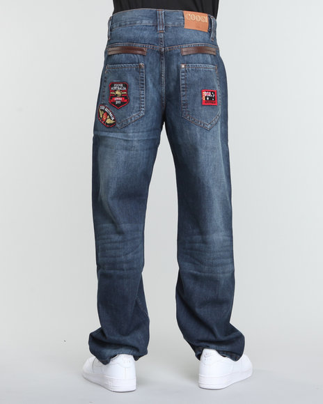 COOGI Men Dark Wash Military Denim Jeans