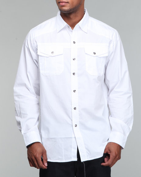 Mo7 Men Woven Solid LS White XLarge