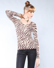 Fall Lookbook - Hers - L/S V-neck Zebra Printed Sweater