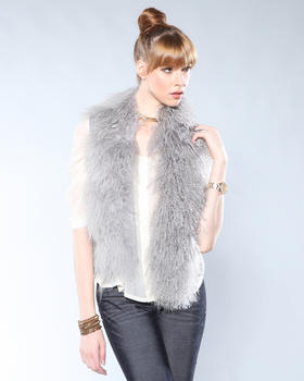 DJP Boutique - Sweater Vest w/ Faux Mongolian Collar