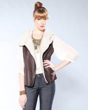 Vests - Asymetrical Zip Moto Vest w/Faux Fur