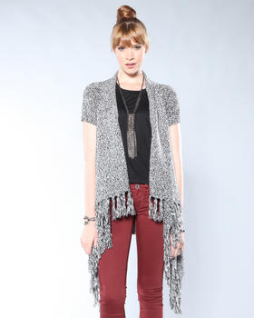 DJP Boutique - S/S Marbled Cape Cardigan w/Fringes