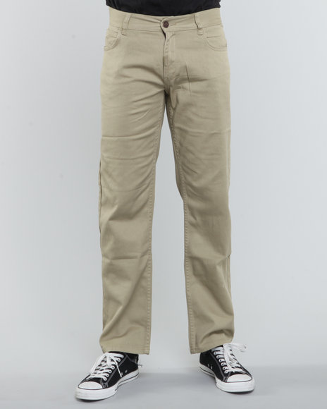 LRG Men Khaki Core Collection True-Straight 5-Pocket Twill Pants