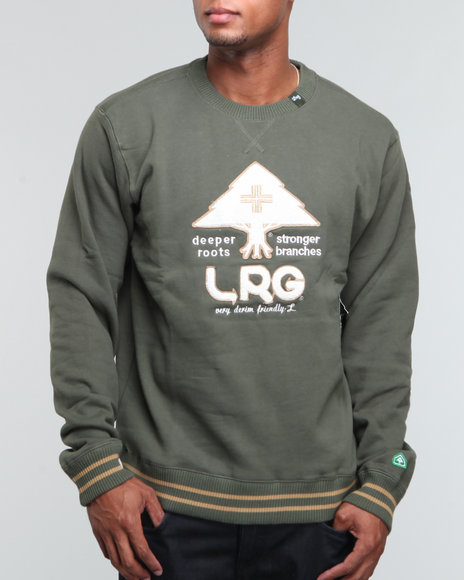 LRG Men Olive Team Player Crewneck Sweatshirt