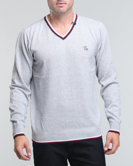 LRG Men Grey Resolutionary Thinking V-Neck Sweater