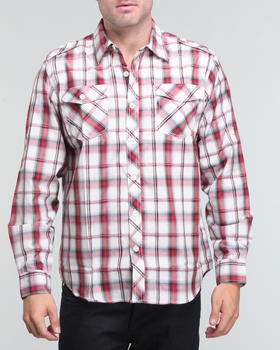 Basic Essentials - Wide plaid dual front pocket button down shirt