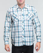 Button-downs - Wide plaid dual front pocket button down shirt