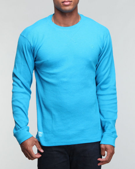Akademiks Men Blue Brick City L/S Crew Thermal