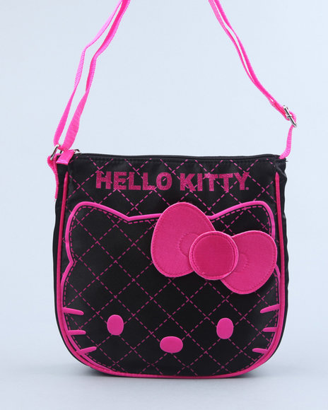 hello kitty femme fashion black satin crossbody bag