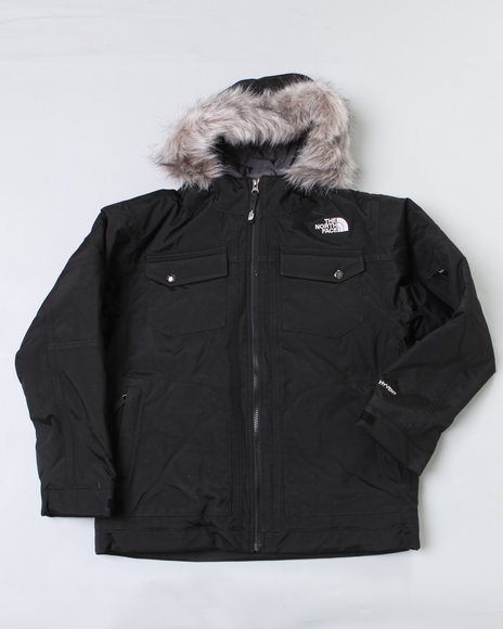 The North Face Boys Black Yellowband Parka W/ Faux Fur Trim