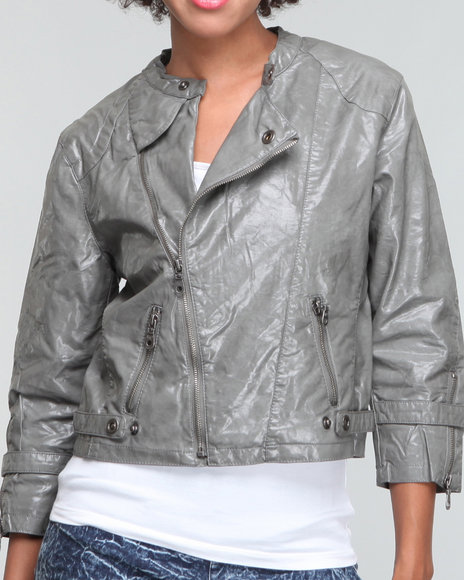 Members Only Women Grey Rebecca Moto Jacket
