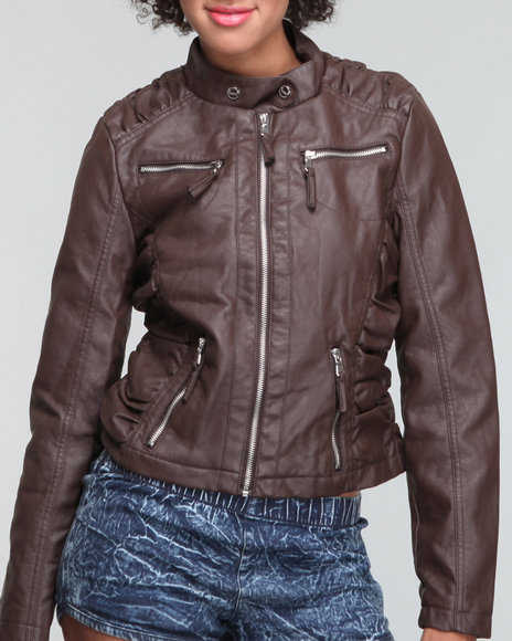 Basic Essentials Women Brown Toni Vegan Leather Jacket W/Side Ruching