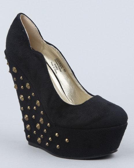 Image of Dereon Women Black Eva Faux Suede Platform W Studded Heel