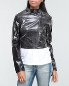 Fashion Lab - Shira Vegan snake print moto jacket