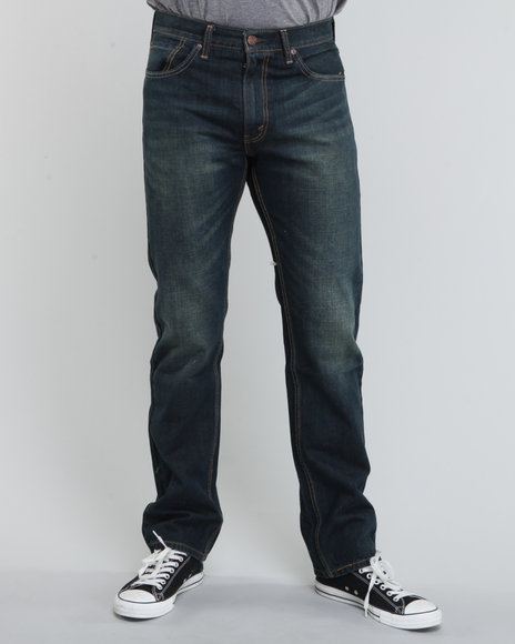Levi's - Men Dark Wash 505 Straight Fit Green Frost Jeans