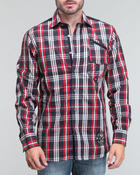 Button-downs - L/S Rollup plaid woven