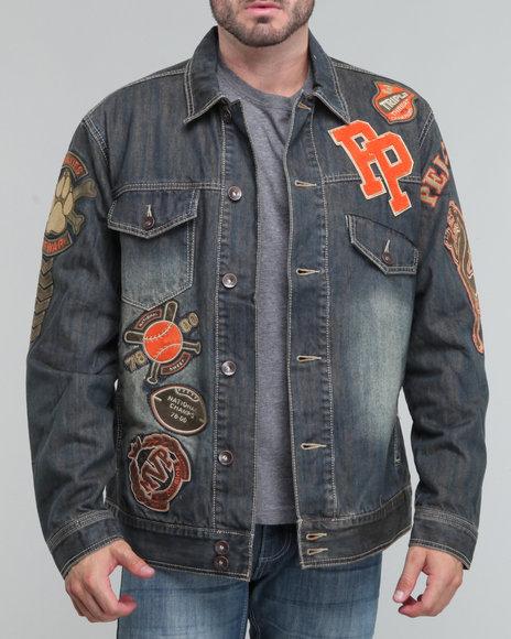 Pelle Pelle Men Raw Wash Patch Denim Jacket