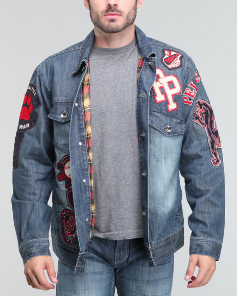 Pelle Pelle Men Indigo Indigo Stonewash Patch Denim Jacket