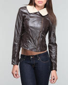 Fashion Lab - Vegan leather jacket w/sherpa lining w/ Faux fur lining on hood