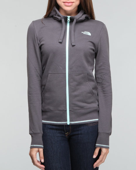 The North Face Grey Logo Stretch Full Zip Hoodie
