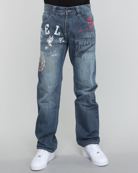 Pelle Pelle Men Medium Wash Blue Osaka Sports Print Denim Jeans