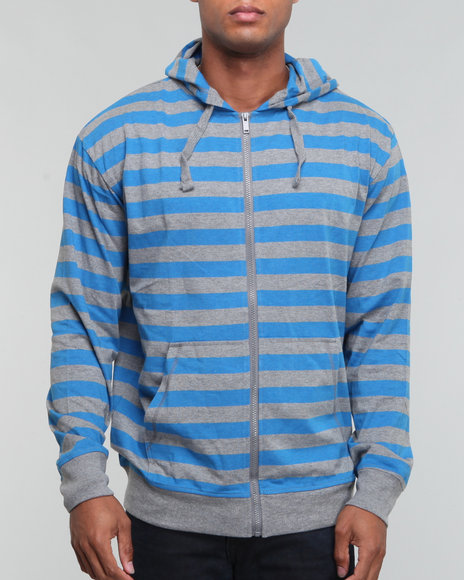 striped heathered jersey full zip hoodie