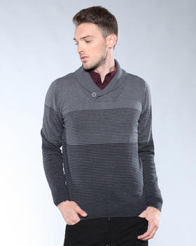 DJP Basics - Fine Striped Shawl - Neck Pullover Sweater