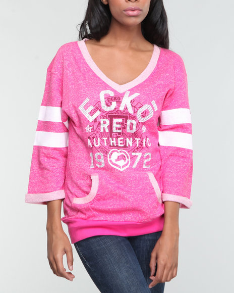 Ecko Red Women Pink 3/4 Roll Cuff Slv Active Pullover