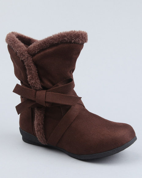 Fashion Lab Women Brown Tinni Faux Fur Boot