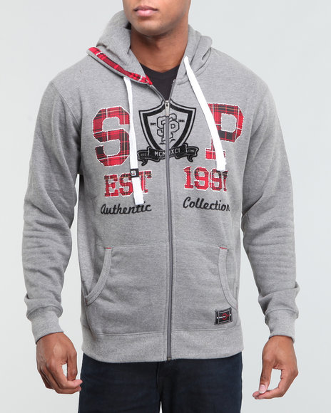 Southpole Men Plaid Trimmed Hoodie - Hoodies