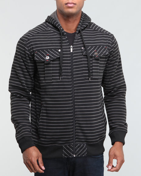 Southpole Men Striped Utility Hoodie - Hoodies