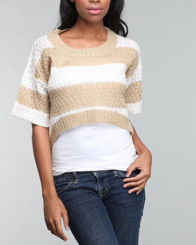 Basic Essentials - High low 3/4 sleeve stripe sweater