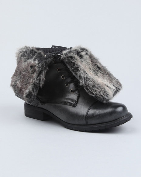 Fashion Lab - Women Grey Karma Fold Over Faux Fur Boot