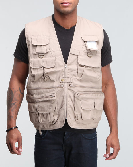 Men Khaki Military Travel Vest