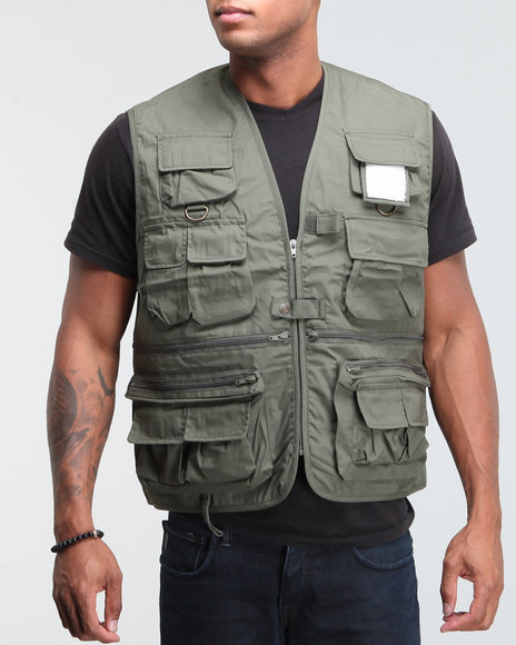 Drj ArmyNavy Shop Men Military Travel Vest Olive XXLarge