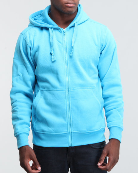 Basic Essentials Men Blue Neon Solid Full Zip Hoodie