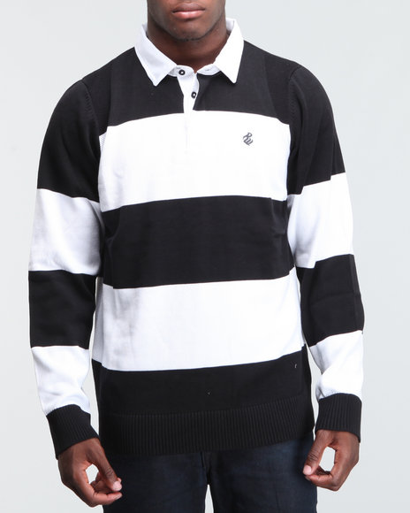 Rocawear Men Black Pelham Pkwy Collared Sweater