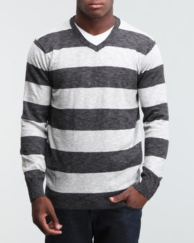 Basic Essentials - Striped V neck Cotton Sweater