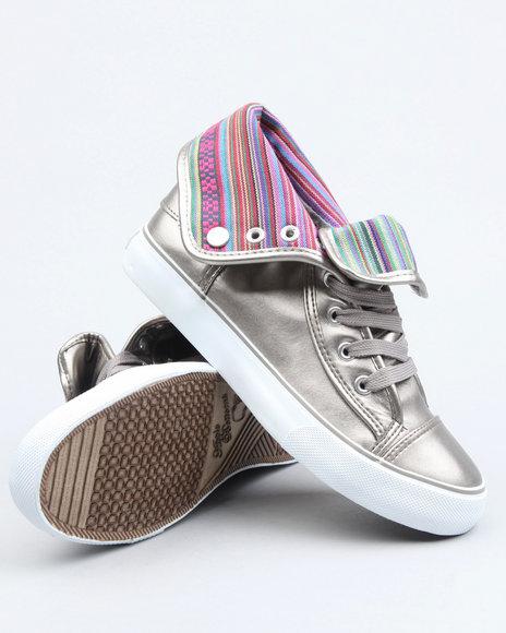 Apple Bottoms Women Silver Elois Foldover Tribal Print Trim Sneaker