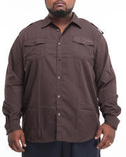 Big & Tall - Major Steel Roll Up Long Sleeve Solid Shirt (B&T)