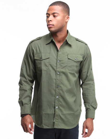 - Major Steel Roll Up Long Sleeve Solid Shirt