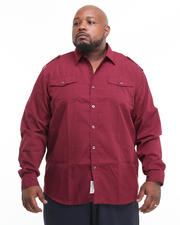 Button-down - Major Steel Roll Up Long Sleeve Solid Shirt (B&T)