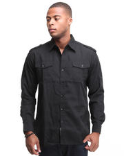 Men - Major Steel Roll Up Long Sleeve Solid Shirt