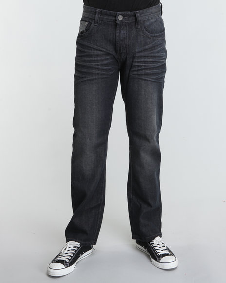 MO7 Men Black Reversed Slant Pocket Detail Denim Jeans