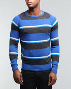 Men - 3 Tone Striped Cotton Crewneck Sweater