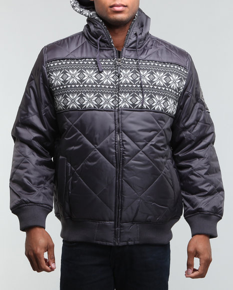 Mo7 - Men Charcoal Pad Quilted Zip Hoody Jacket