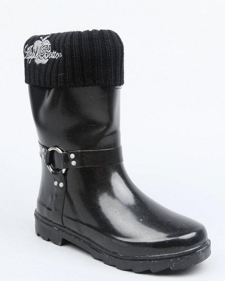 Apple Bottoms Girls Black Fleece Insulated Harness Logo Rainboot